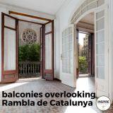 2 balconies overlooking Rambla de Catalunya