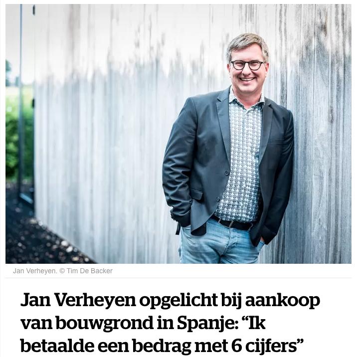 HLN artikel Jan Verheyen opgelicht in Spanje bij aankoop vastgoed